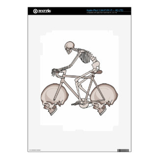 Skeleton Riding Bike With Skull Wheels Decal For iPad 3