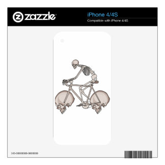 Skeleton Riding Bike With Skull Wheels Skins For iPhone 4S