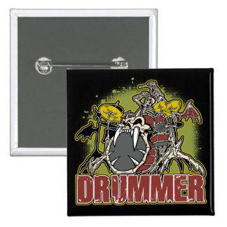 Skeleton Rock Drummer Button