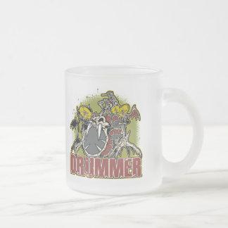 Skeleton Rock Drummer Frosted Glass Coffee Mug