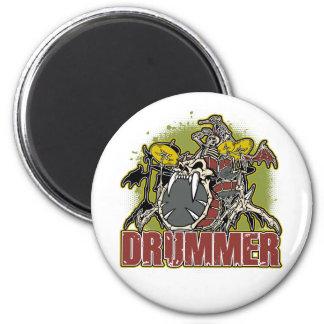 Skeleton Rock Drummer Magnet