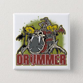 Skeleton Rock Drummer Pinback Button