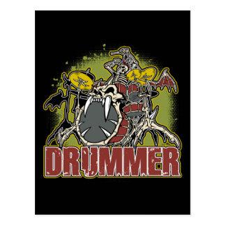 Skeleton Rock Drummer Postcard
