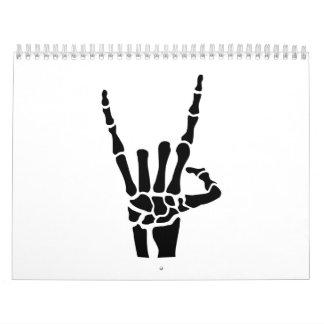 Skeleton rock hand calendar