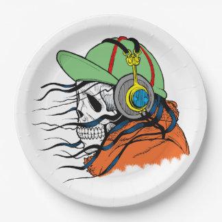 Skeleton Rocking wearing headphones Paper Plate