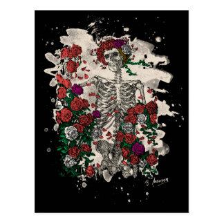 Skeleton & Roses - bleached version Postcard
