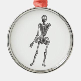 Skeleton Round Metal Christmas Ornament