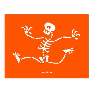 Skeleton Running Away Postcard