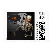 Skeleton Says YOUR NAME on Halloween Postage
