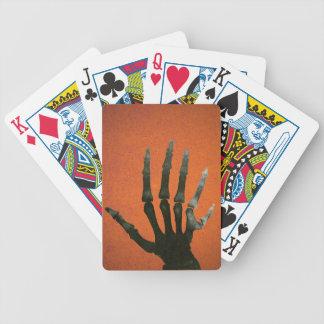 Skeleton Six Fingered Hand Bones Black Orange Bicycle Playing Cards