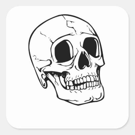 Skeleton Skull Square Sticker