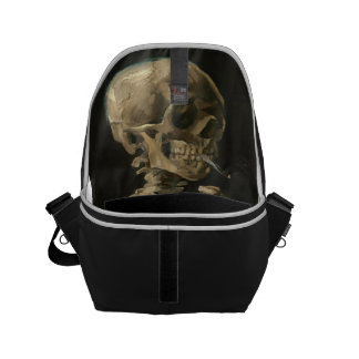 Skeleton Skull with Burning Cigarette by Van Gogh Small Messenger Bag