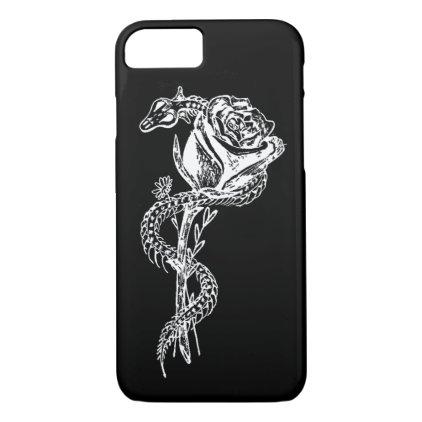 Skeleton Snake and Rose Print Phone Case