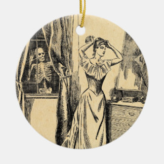 Skeleton Spying on Victorian Lady Vintage Goth Art Ceramic Ornament