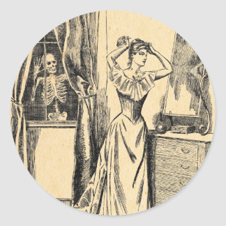 Skeleton Spying on Victorian Lady Vintage Goth Art Classic Round Sticker