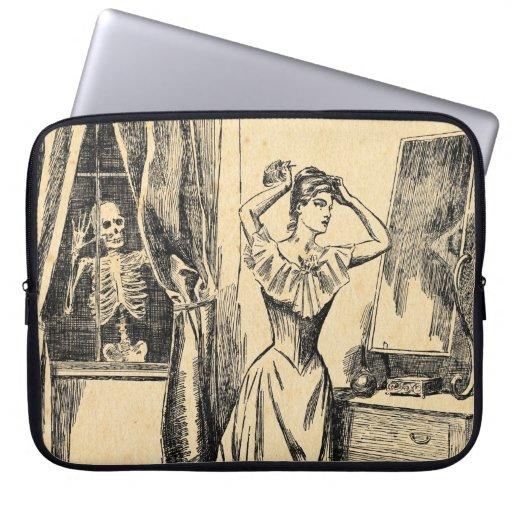 Skeleton Spying on Victorian Lady Vintage Goth Art Laptop Sleeve