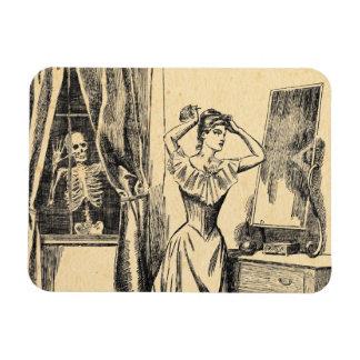 Skeleton Spying on Victorian Lady Vintage Goth Art Magnet