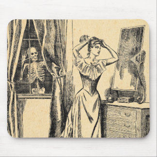 Skeleton Spying on Victorian Lady Vintage Goth Art Mouse Pad