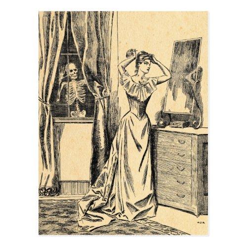 Skeleton Spying on Victorian Lady Vintage Goth Art Postcard