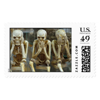 Skeleton Stamp See No, Hear No, Speak No Evil