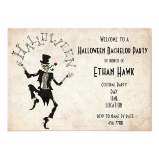 Skeleton Steampunk Halloween Bachelor B'day Party Invitation