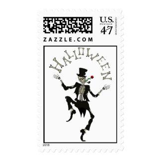 Skeleton Steampunk Halloween Custom Postage