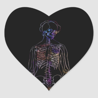 Skeleton Heart Sticker