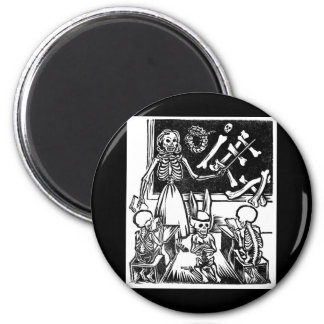 """Skeleton Teacher and Students """"Day of the Dead"""" 2 Inch Round Magnet"""