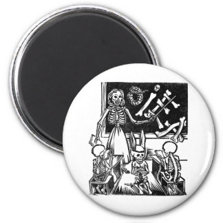 """Skeleton Teacher and Students """"Day of the Dead"""" Refrigerator Magnet"""