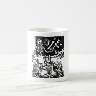 """Skeleton Teacher and Students """"Day of the Dead"""" Classic White Coffee Mug"""