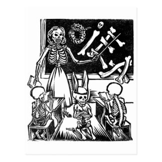 "Skeleton Teacher and Students ""Day of the Dead"" Postcard"