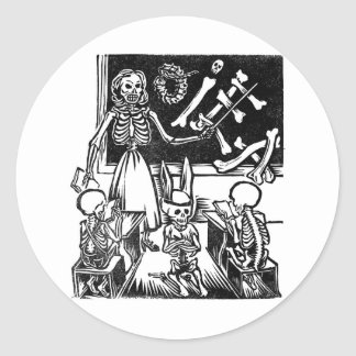 Skeleton Teacher and Students Day of the Dead Round Sticker