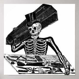"""Skeleton Undertaker"" circa 1800's Mexico. Poster"