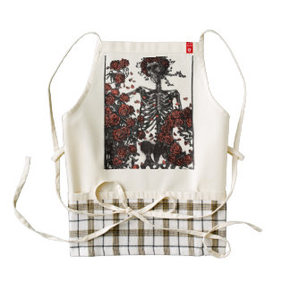 Skeleton Vintage Art With Roses,Dictionary Art Zazzle HEART Apron