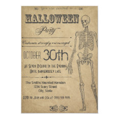 Skeleton Vintage Halloween Invitation at Zazzle