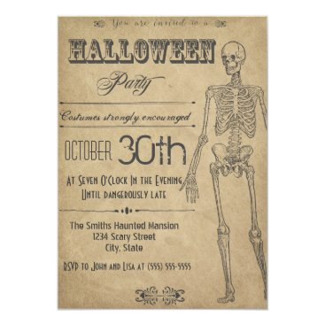 Halloween Themed Skeleton Vintage Halloween Invitation