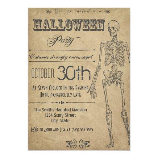 Skeleton Vintage Halloween Invitation