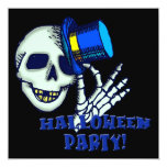 """Skeleton Wearing Hat Halloween Party Invitation 5.25"""" Square Invitation Card"""