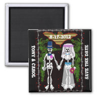 skeleton wedding 1 fridge magnet