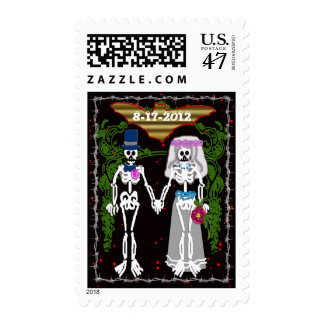 skeleton wedding 1 postage stamp