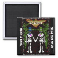 skeleton wedding 2 fridge magnet