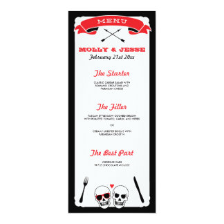 Skeleton Wedding Dinner Menu - Black and Red Card