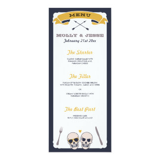 Skeleton Wedding Dinner Menu - Navy and Mustard Card