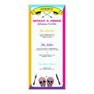Skeleton Wedding Dinner Menu - Neon Card