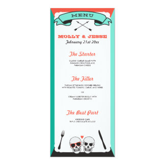 Skeleton Wedding Dinner Menu - Teal and Orange Card