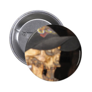 Skeleton with Ball cap Pinback Button