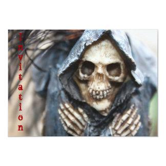 Skeleton With Black Hooded Cape Invitation