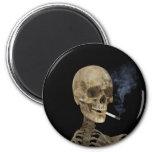 Skeleton with cigarette refrigerator magnets