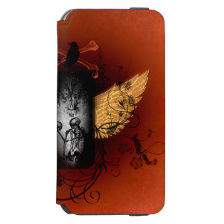 Skeleton with crow iPhone 6/6s wallet case