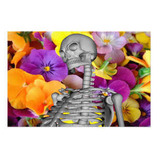 Skeleton  with Flowers Photo Print